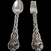 English Sterling Silver Desert Fork & Spoon