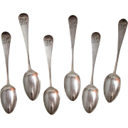 Set Of Six George lll  English Sterling Silver Coffee Spoons