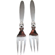 """A Pair Of Sterling Silver Georg Jensen """"Cactus"""" Fish Forks"""
