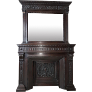 19th Century large Italian renaissance Style carved fireplace with mirror