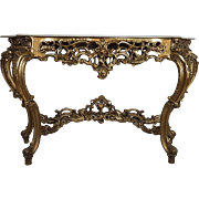 20th Century French Baroque Louis XIV Style Gilt Wood large Console Table