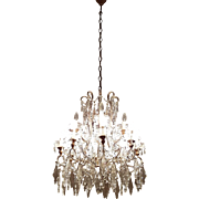 20th Century rare Louis XVI style 1920s Chandelier precious crystal 12Light
