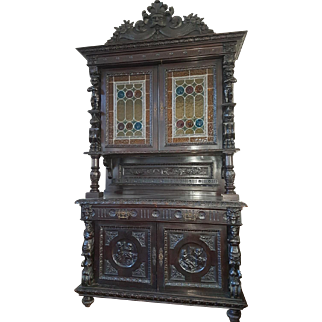19th Century large antique french renaissance style carved buffet sideboard cabinet