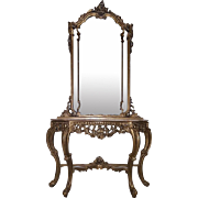 Beautiful French Baroque Louis XIV Style Gilt Wood Console Table with Mirror
