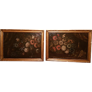 17th Century pair antique oil on canvas paintings of flowers