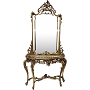 Beautiful French Baroque Louis XIV 20th Century Console Table with Mirror