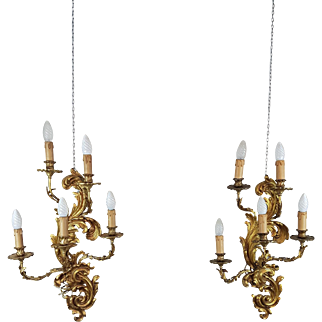 20th Mid Century Pair French Louis XV style sconces ormolu 5 Light