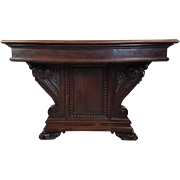 19th Century antique Italian renaissance carved dining room extending table