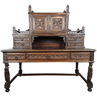 19th century large antique French renaissance carved Oak writing desk