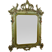 19th Century Beautiful Large Antique Italian Baroque Louis XIV Wood carved Mirror