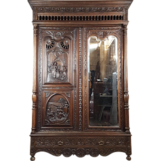 19th Century large antique french renaissance carved armoire wardrobe 2 door