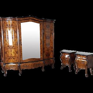 20th Century bedroom set italian baroque chippendale bombay walnut gold