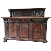 19th Century large Italian Renaissance carved buffet sideboard