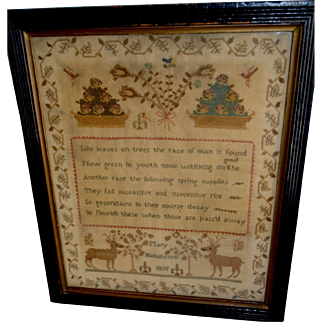 """19th Century Sampler, signed """"Mary Hutcheson"""" and dated """"1815"""""""