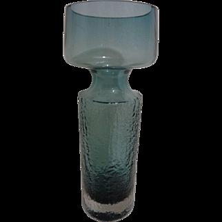 "Riihimaki Lasi Oy Safari Vase by Tamara Aladin Mid Century Modern Glass 12"""