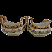 Pickard Hand Painted China Creamer & Sugar Bowl Gold Violets Signed