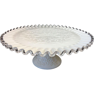"Fenton Glass Silver Crest Spanish Lace 11"" Cake Stand"