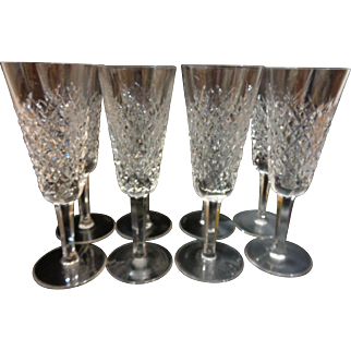 8 Waterford Crystal Alana Champagne Flutes