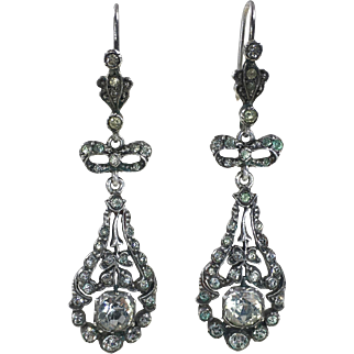 Edwardian silver and paste earrings c.1900