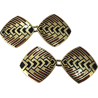 French Art Deco Enamel Gold Cufflinks circa 1915