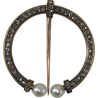 French Diamond and Pearl Fibula Brooch c.1890