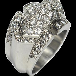 Art Moderne French Diamond Platinum Ridge Ring