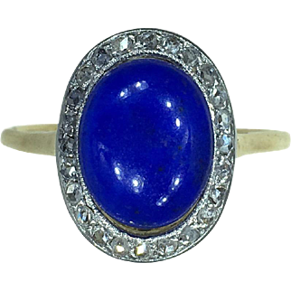Edwardian Lapis Lazuli and Diamond Cluster Ring c.1910