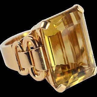 French Retro Citrine 18kt Rose Gold Ring circa 1940
