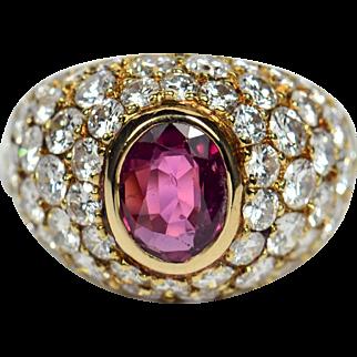 French Ruby Diamond 18kt Gold Bombe Ring circa 1950