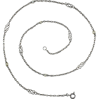 Platinum and Pearl Chain Necklace c.1910