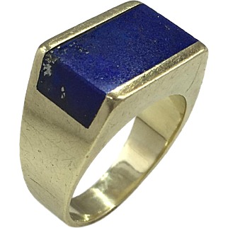 German Lapis Lazuli and 14 Karat Gold Plaque Ring c.1960
