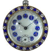 French Jewelled Ball Clock with Blue Paste c.1910