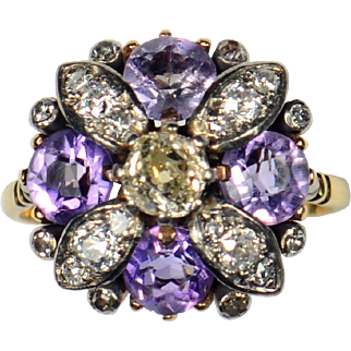 19th Century Amethyst Diamond Flower Ring
