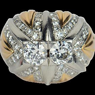 French 18kt gold, platinum and diamond bombé ring c. 1960