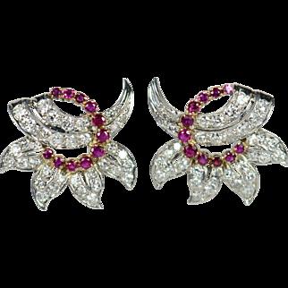Ruby Diamond Platinum 18kt Gold Flower Clip Earrings circa 1950