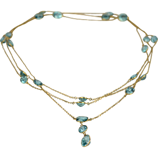 Blue Zircon and 14kt Gold Long Chain Necklace circa 1920