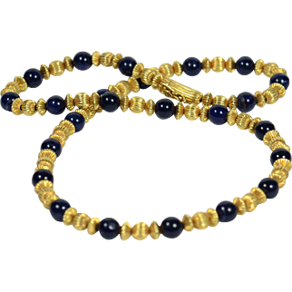 Ilias Lalaounis Sodalite 18kt Gold Beads Necklace