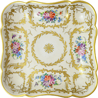 A Fine Vintage French Limoges Le Tallec Large Handpainted Dish, 1961