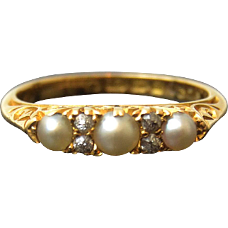 Antique Edwardian 18ct gold pearl and rose cut diamonds ring dated Birmingham 1903.