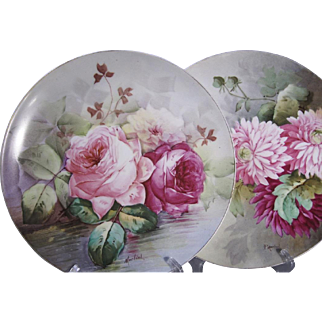 A pair of gorgeous large hand painted plates/dishes Limoges