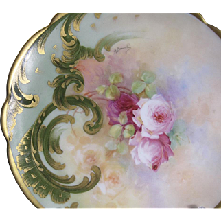 A rare of porcelain hand painted plate. Limoges