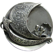 Spanish Pewter Galleon Brooch with Japanese Couple