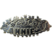 Victorian Sterling Silver Name Brooch ANNIE