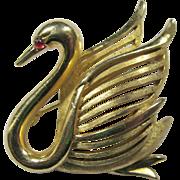 Crown Trifari Goldtone Swan Brooch With Red Cabochon Eye