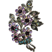 Stunning Pink & Purple Rhinestone Floral Brooch