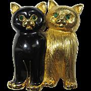 Sweet Swarovski Kittens Brooch With Green Crystal Eyes