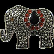 Cut Steel Elephant Brooch With Rhinestone Horseshoe
