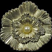 1950s Layered Sunburst Brooch With Pavé Rhinestones & Imitation Pearl