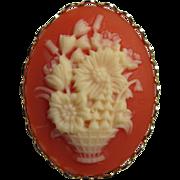 Imitation Coral Flower Basket Cameo Brooch