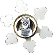 1920s Celluloid King Tut Egyptian Revival Brooch